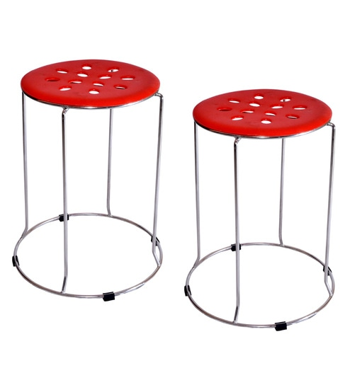 Zecado 17 Inches Red Stainless Steel U0026 PVC Kitchen Stools   Set Of 2