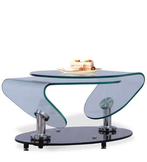 Zee Center Table With Two Clear Glass Tops Attached To Rotatable Base By  Durian