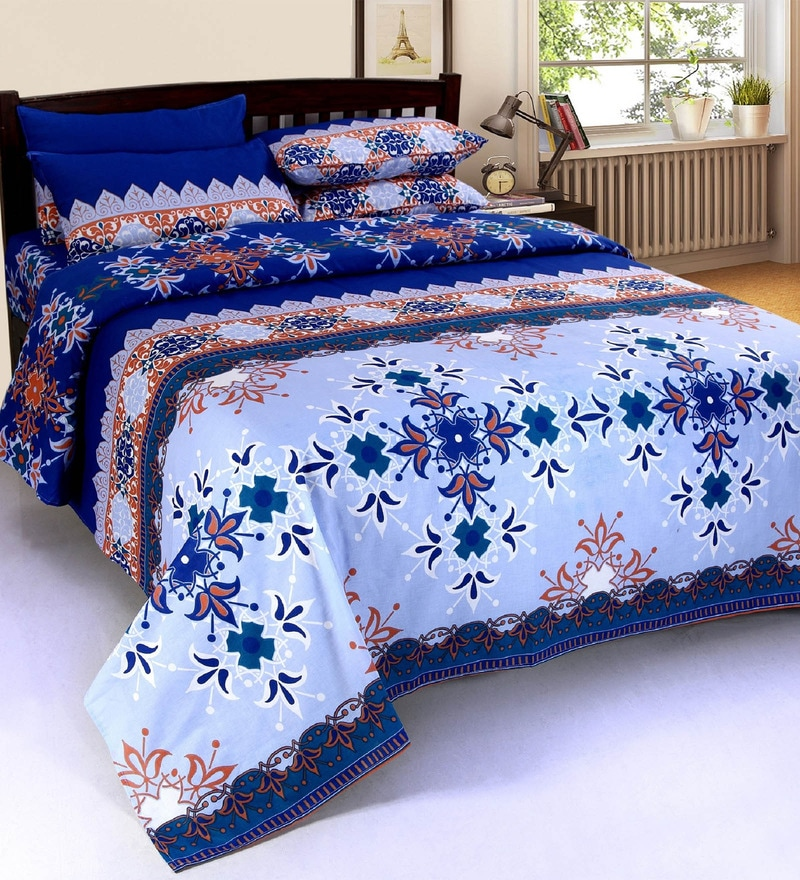 Blue Cotton 90 X Inch Double Bed, What Size Is A Double Bed Sheet In Inches