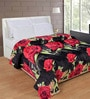 Black & Red Polyester Floral 90 x 90 Inch Double Bed Blanket by Zesture Bring Home
