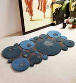 Aqua Wool And Viscose 24 x 48 Inch Bollen Carpet