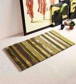 Green Wool And Viscose 24 x 48 Inch Horizontal Stripes Carpet