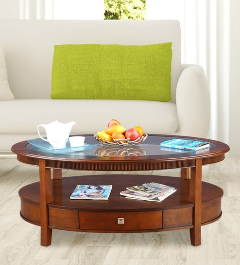 Zina Solid Wood Coffee Table In Brown Colour By Hometown