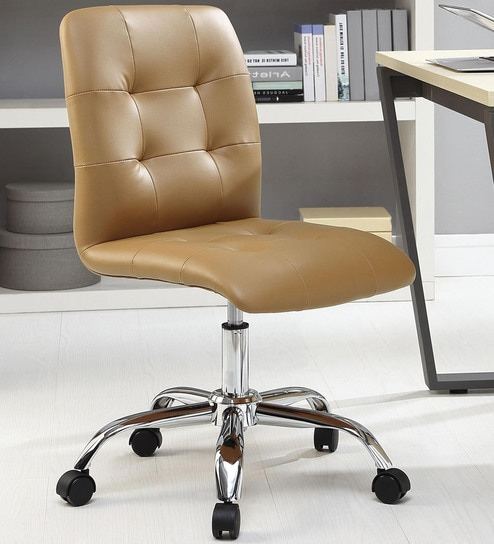 Buy Zingy Ergonomics Chair In Light Brown Leatherette By Exclusive