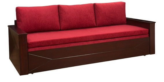 Zian Sofa Cum Bed With Storage In Dusty Red Colour By Design Monkee (Incl.