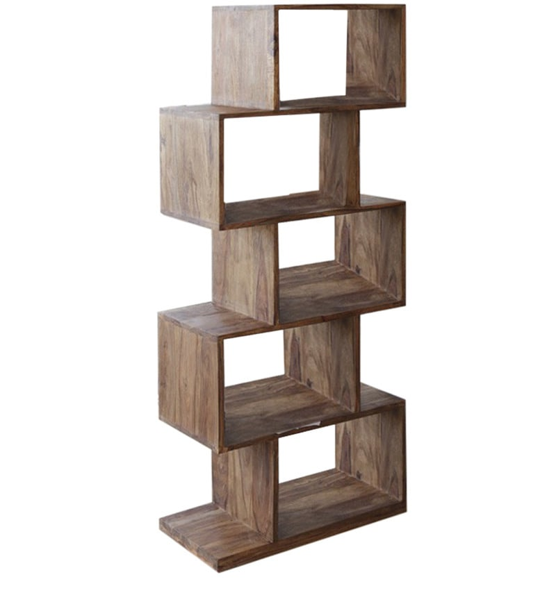 Buy Zig Zag Book Shelf Cum Display Unit In Natural Polish