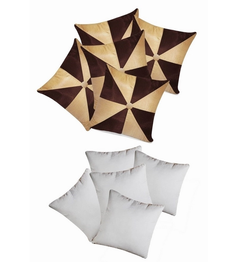 Beige & Brown Polyester 16 x 16 Inch Gig Design Cushion Cover with Inserts - Set of 10 by Zikrak Exim