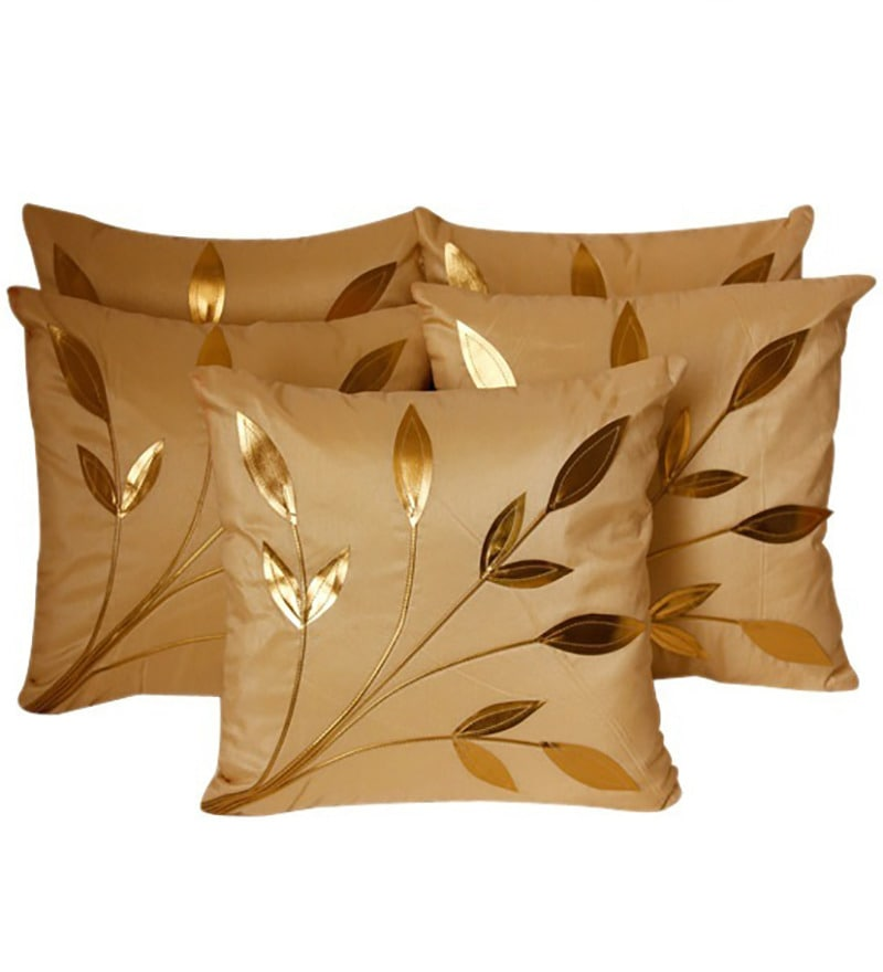 Beige Polyester 16 x 16 Inch Cushion Covers - Set of 5 by Zikrak Exim