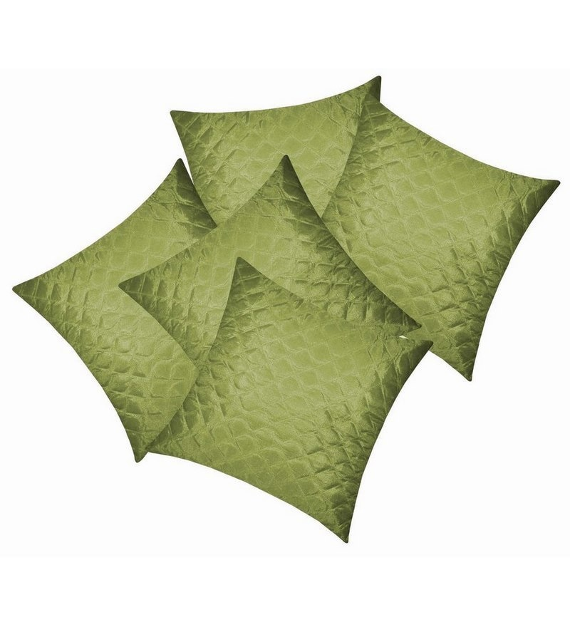 Green Polyester 16 x 16 Inch Square Quilting Cushion Covers - Set of 5 by Zikrak Exim