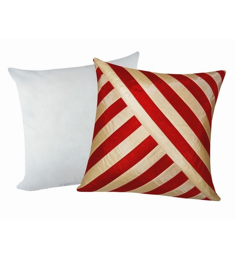 Red & Beige Polyester 16 x 16 Inch Oblique Design Cushion Cover with Inserts - Set of 2 by Zikrak Exim