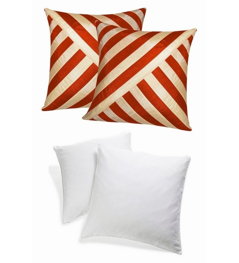 Rust & Beige Polyester 16 x 16 Inch Oblique Design Cushion Cover with Inserts - Set of 4 by Zikrak Exim