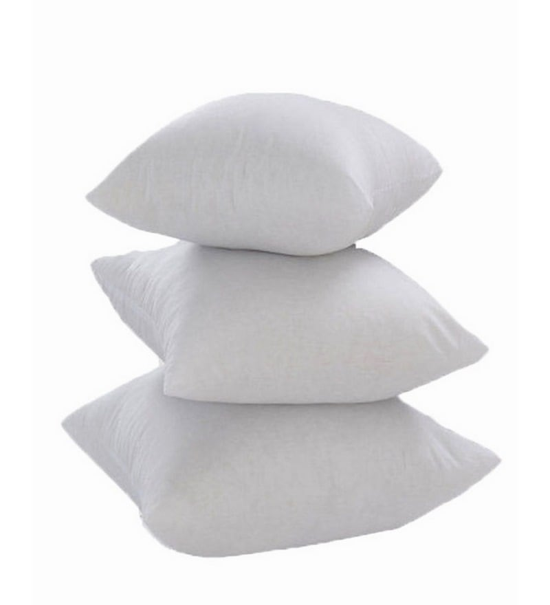 White Polyester 16 x 16 Inch Non Woven Cushion Inserts - Set of 3 by Zikrak Exim