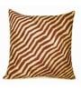 Beige & Brown Polyester 16 x 16 Inch Zig Zag Pintucks Cushion Cover by Zikrak Exim