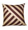 Brown & Beige Polyester 16 x 16 Inch Stripes Cushion Cover by Zikrak Exim