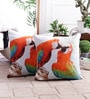 Multicolour Cotton 16 x 16 Inch Chirping Parrot Cushion Cover by Zila Home