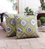 Zila Home Multicolour Cotton 16 x 16 Inch Foil Print with  Embroidery Cushion Cover