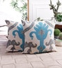 Zila Home Multicolour Cotton 16 x 16 Inch Ikat Cushion Cover