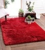 Red Polyester 48 x 72 Inch Shaggy Lurex Rug by Zila Home