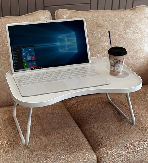 Get 26% Off on Furniture Modern Study Tables Zoey Laptop Table in White Finish by Forzza