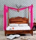 Zunckel King Size Poster Bed in Honey Oak Finish