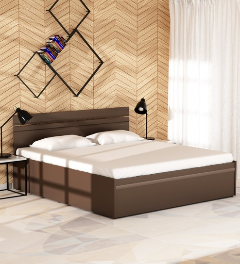 buy zurina king size bed with storage in wenge finish by godrej interio online modern king. Black Bedroom Furniture Sets. Home Design Ideas
