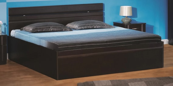 buy zurina king size bed with storage in wenge finish by godrej interio online king sized beds. Black Bedroom Furniture Sets. Home Design Ideas